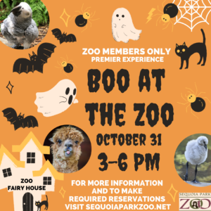 Boo at the Zoo premier experience on October 31, 2020 from 3pm to 6pm