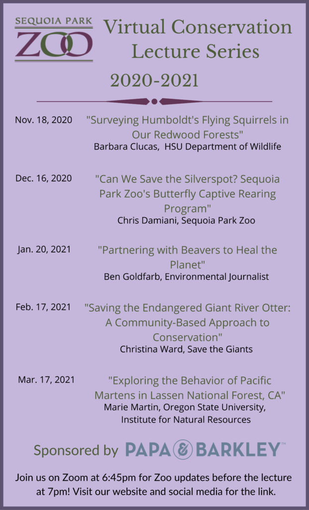 conservation lecture schedule for sequoia park zoo 2020-2021