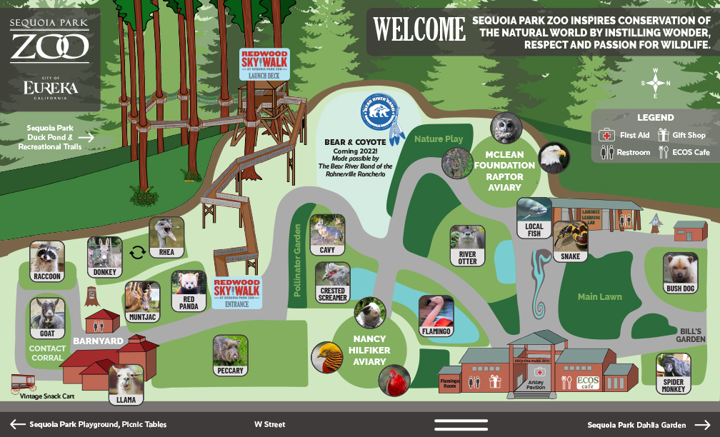 Facility map of Sequoia Park Zoo updated 2021