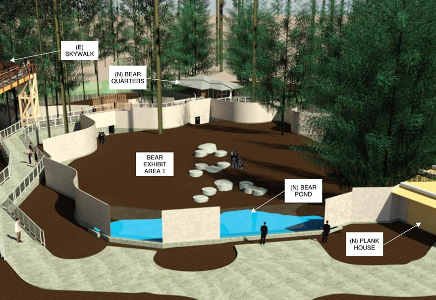 Plank house with bear artist rendering of upcoming Bear exhibit at Sequoia Park Zoo
